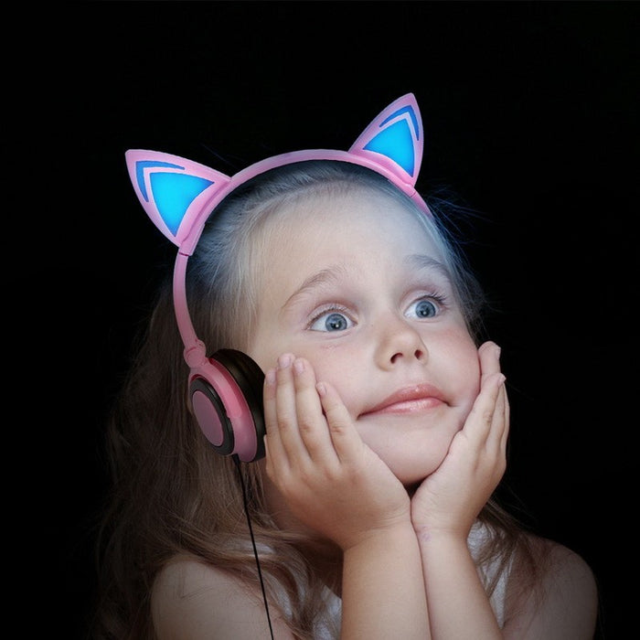 Foldable Flashing Glowing Cat Ear Headphones - alikasa store