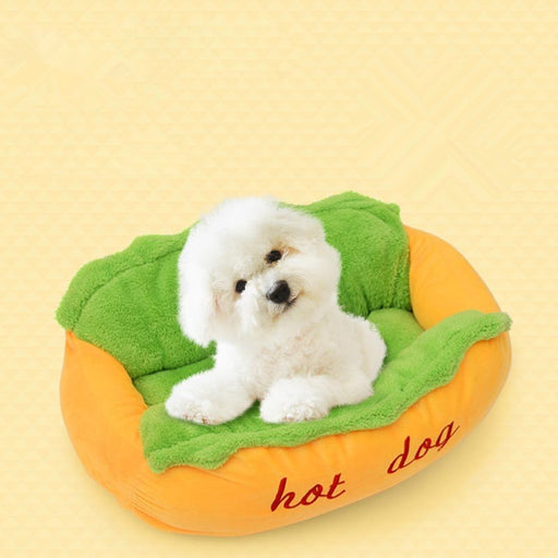 Pet Hot Dog Shape Bed Simulation S L Size