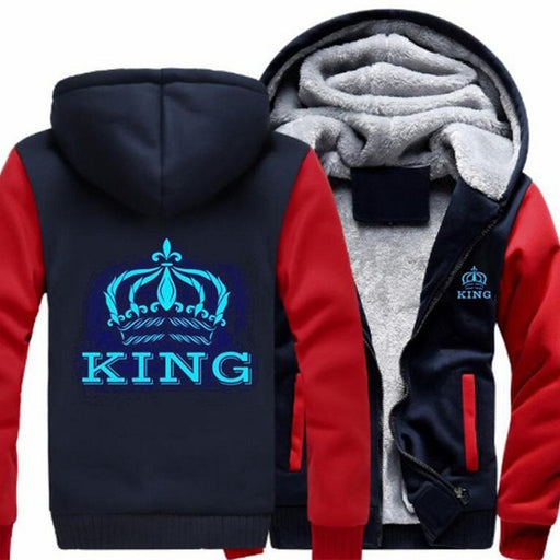 The QUEEN The KING Luminous Glowing Print Hoodie Jacket