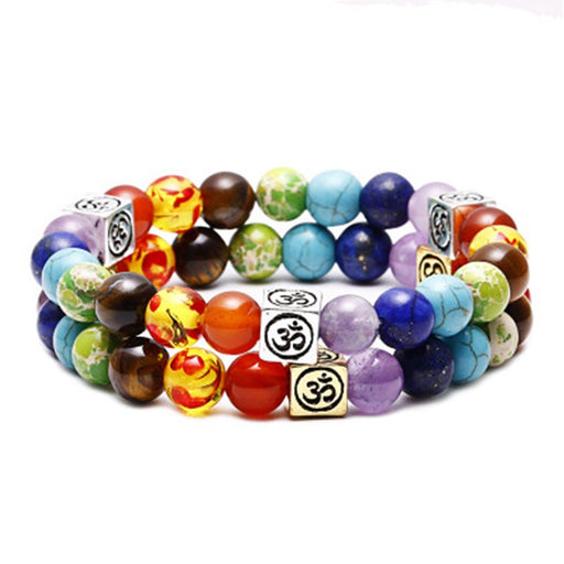 Colorful Chakras Agate Sieve Beads Bracelet