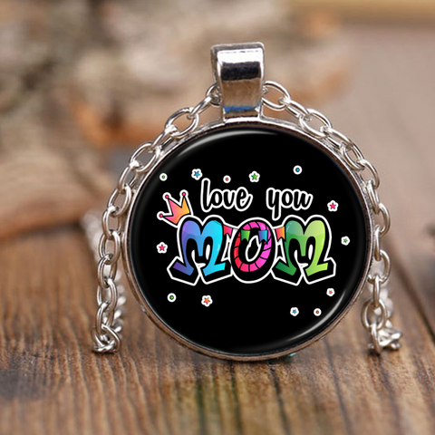 Love You Mom - Necklace - Antique Brass