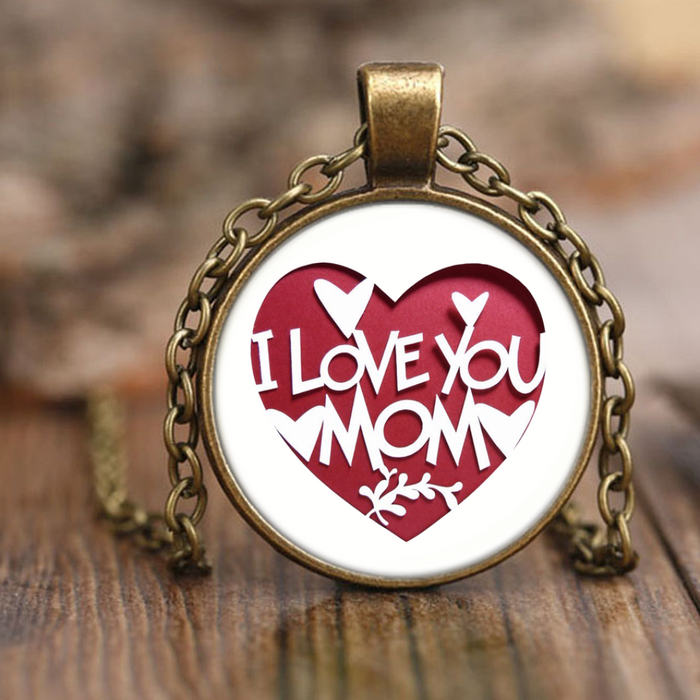 I Love Mom - Necklace - Antique Brass