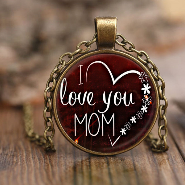 I Love You Mom - Necklace - Antique Brass