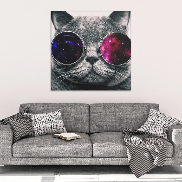 Cat face with glasses Canvas Wrap