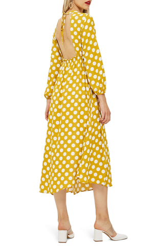 topshop polka dot open back dress