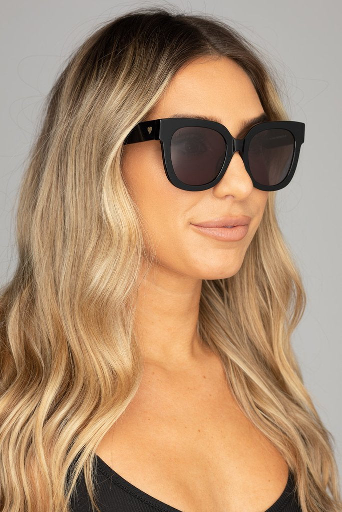 Heather Oversized Black Sunglasses