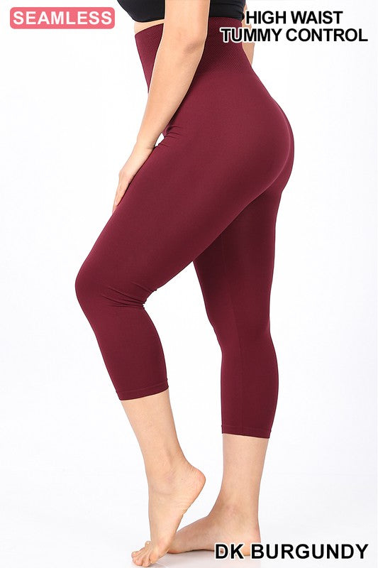 Capri Burgundy Leggings Plus