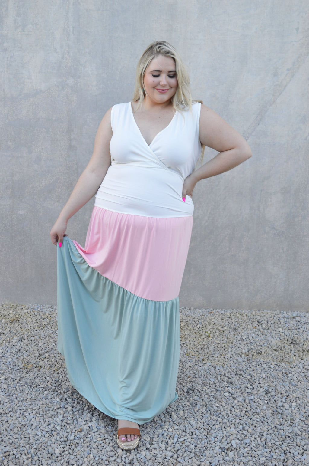 Color Block Tank Maxi Dress