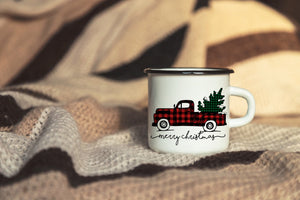 Buffalo Plaid Christmas Truck Campfire Mug