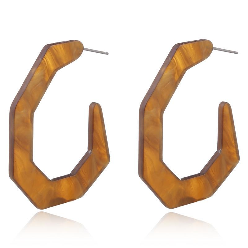 Brown Acrylic Hoop Earrings