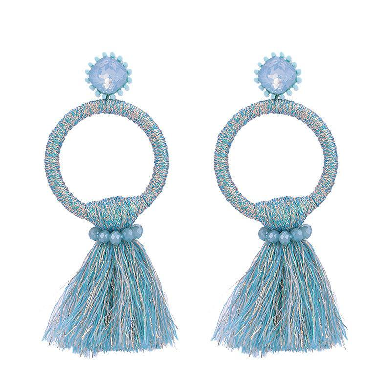 Blue Tassel Circle Earrings