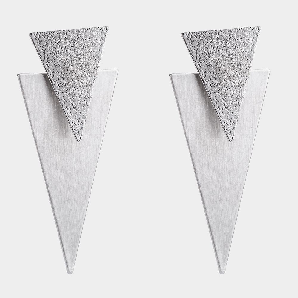 Brushed Metal Triangle Earrings