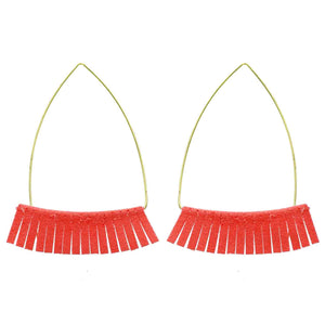 Coral Leather Triangle Earrings