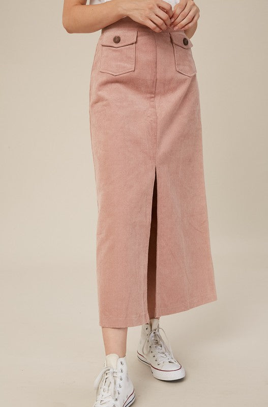 Mauve Kisses Corduroy Skirt