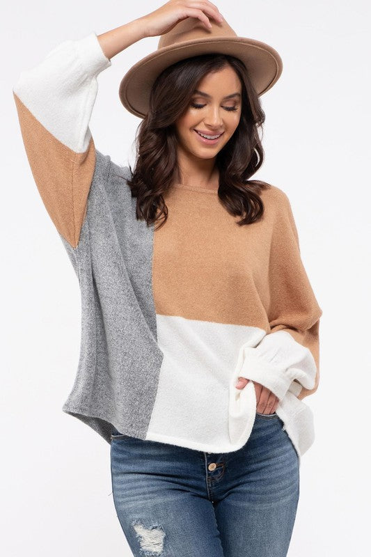 Neutral Blocks Sweater
