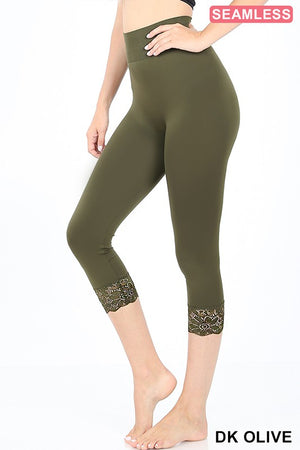 Lace Capri Olive Leggings