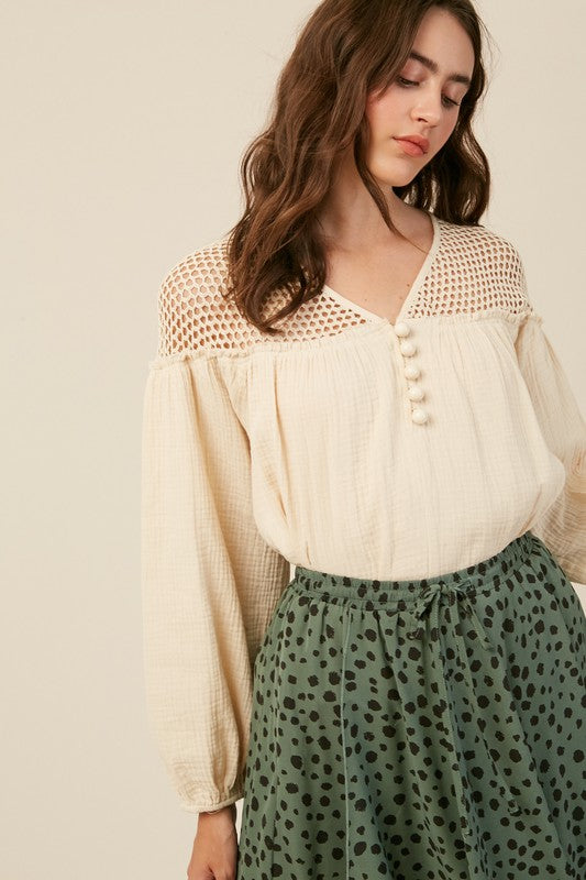 Textured Button Down Blouse