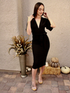 Black Valerie Deep V Dress