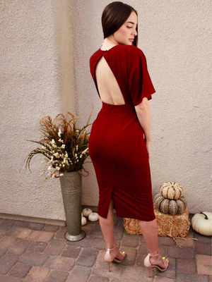 Maroon Valerie Deep V Dress