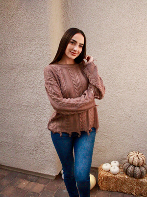 Mocha Reagan Cable Knit Sweater