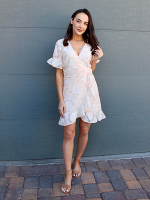Astra Embossed Peach Dress
