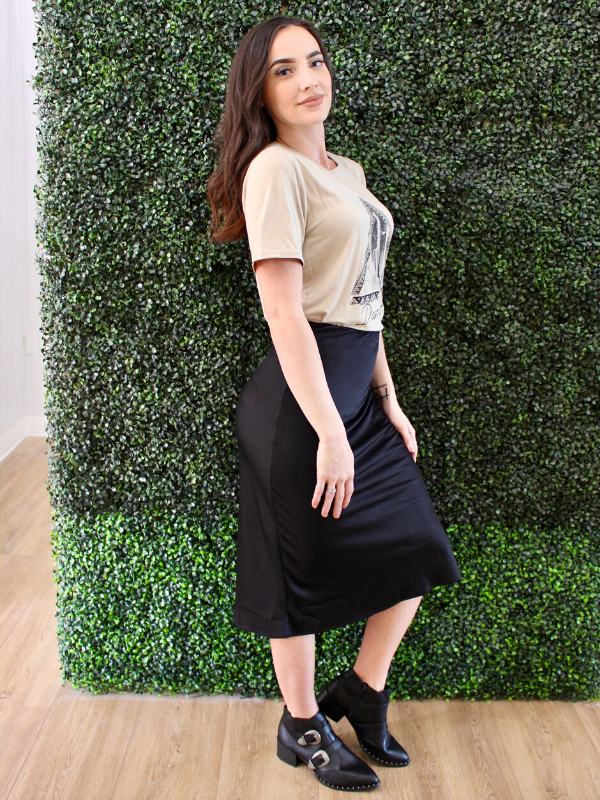 Kimora Silk Black Pencil Skirt
