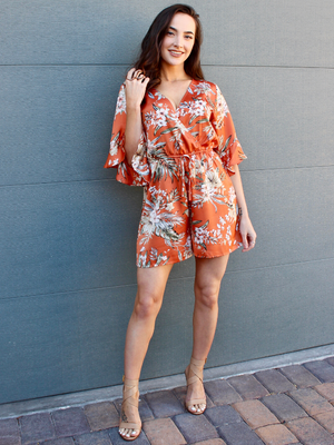Tropical Print Silk Romper