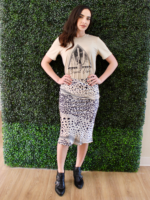 Kimora Silk Leopard Pencil Skirt