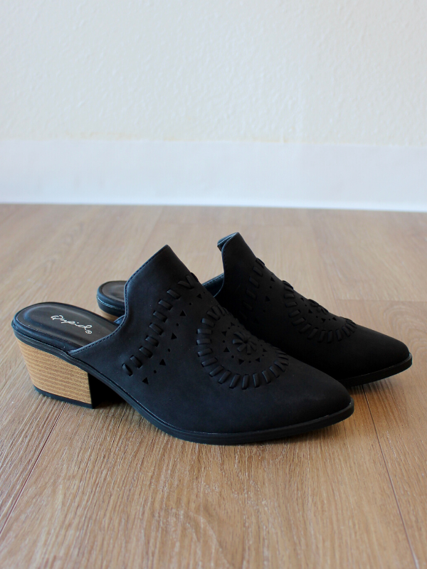 Montana Cut Out Black Mules