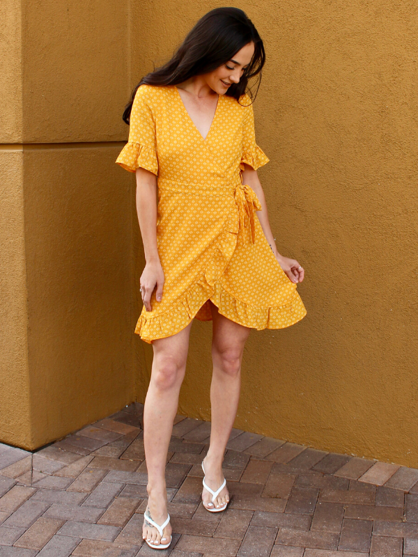Haisley Yellow Wrap Dress