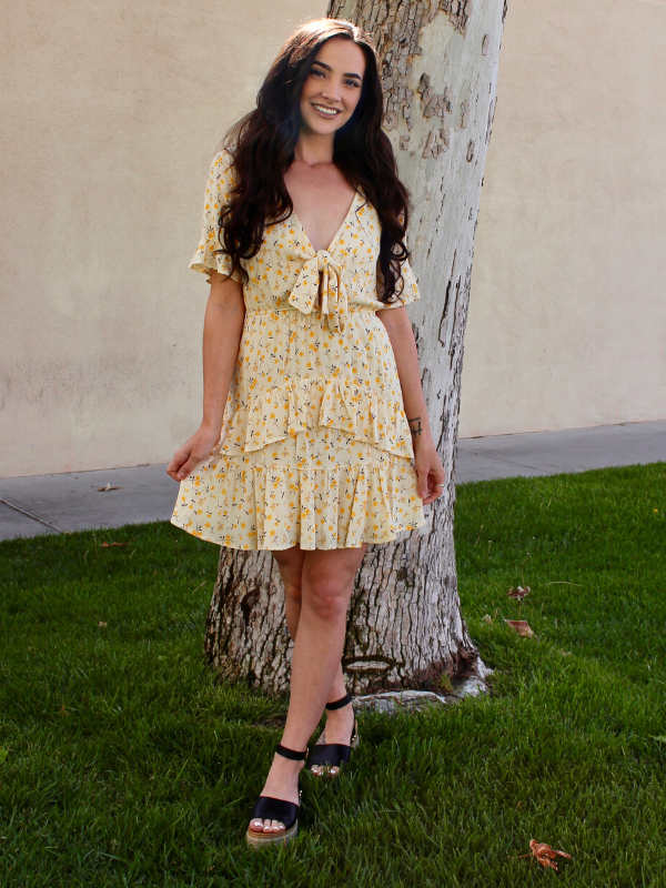 Spring Fever Yellow Gauze Dress