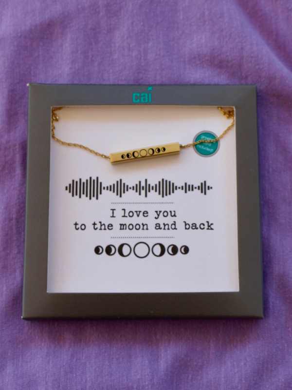 Gold Moon Sound Wave Necklace