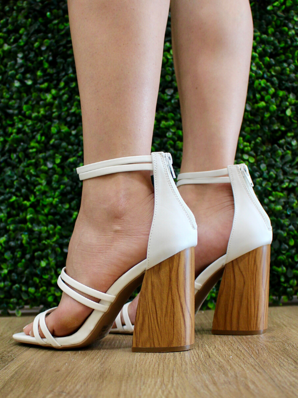 Chandler White Strappy Heels