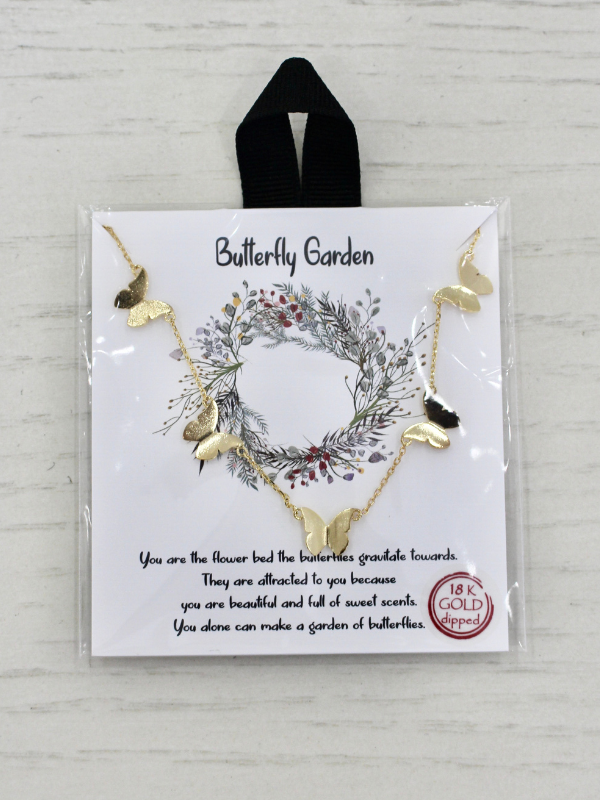 Butterfly Garden Gold Necklace