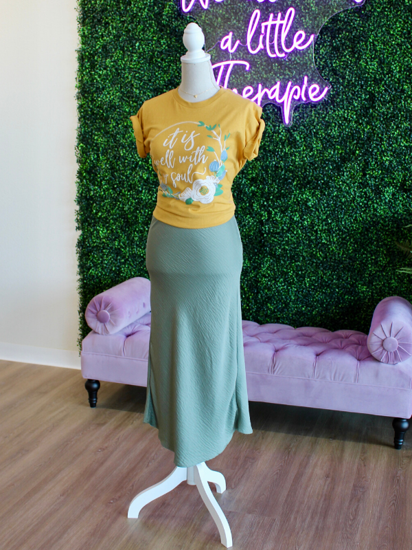 Kimora Silk Sage Pencil Skirt