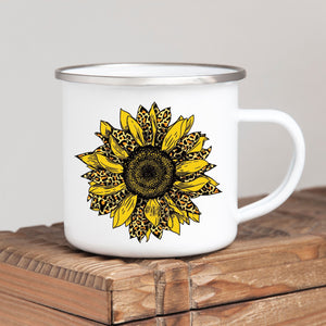 Cheetah Print Sunflower Campfire Mug