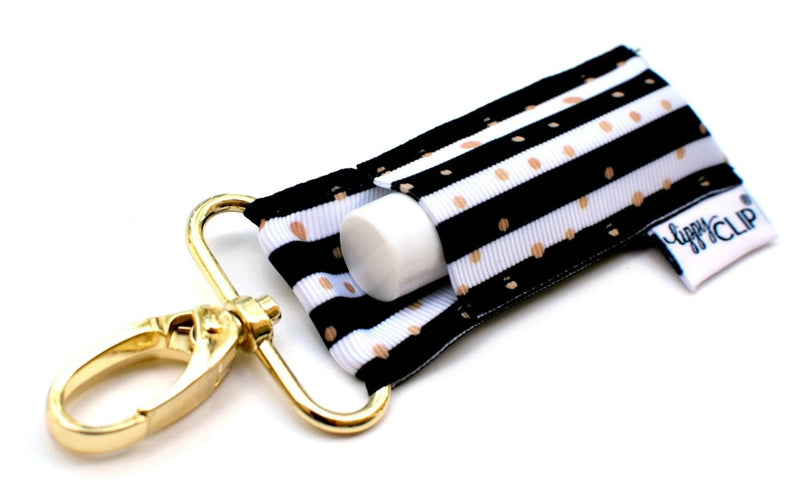 Black and White Stripe with Gold Dots