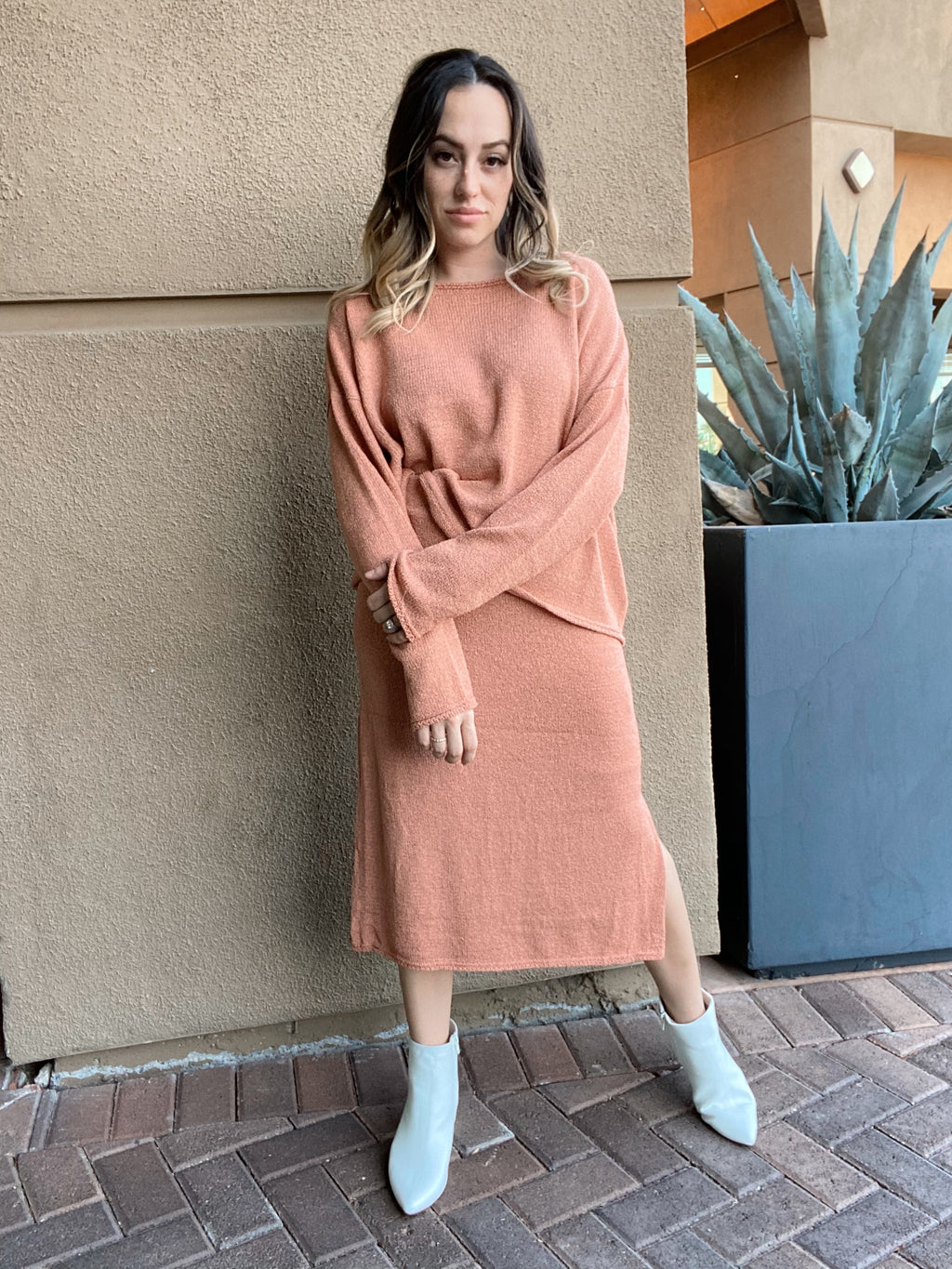 Pumpkin Spice Knit Sweater Skirt