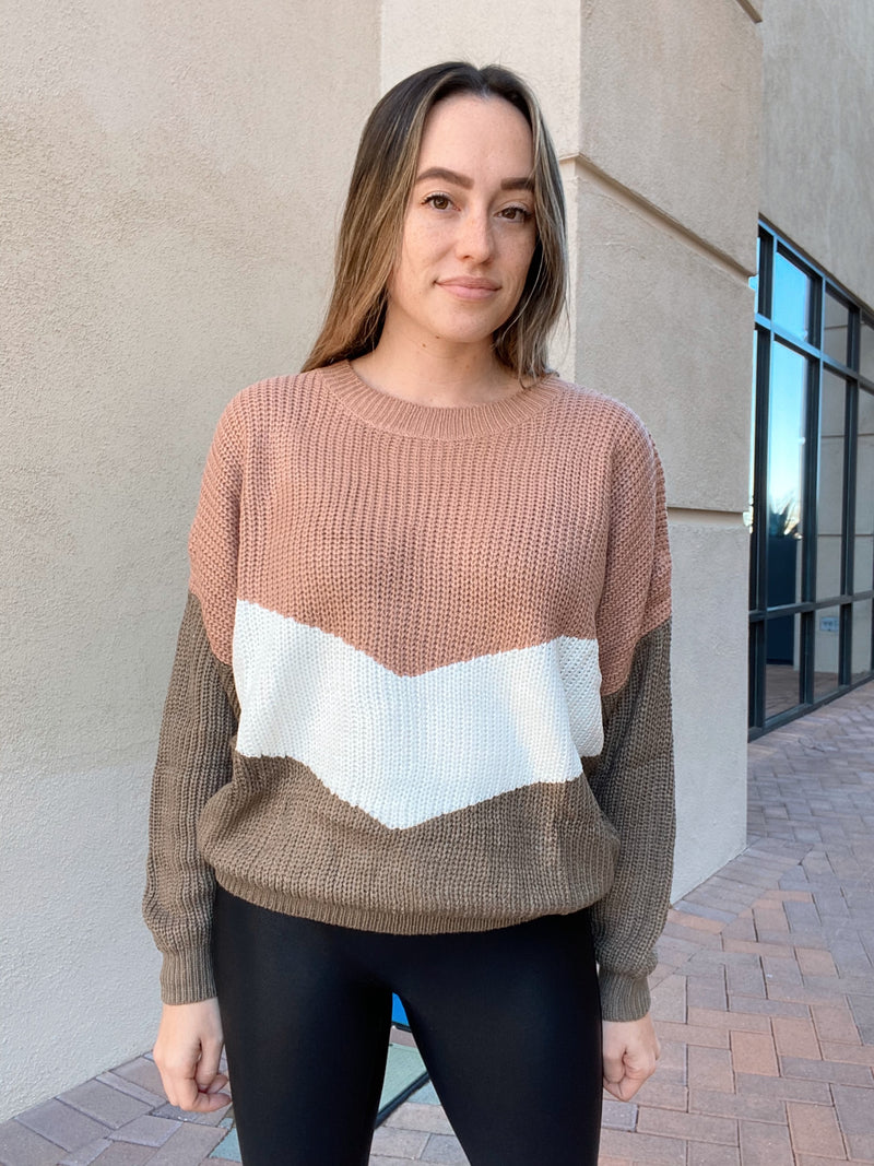 Earthy Color Block Sweater