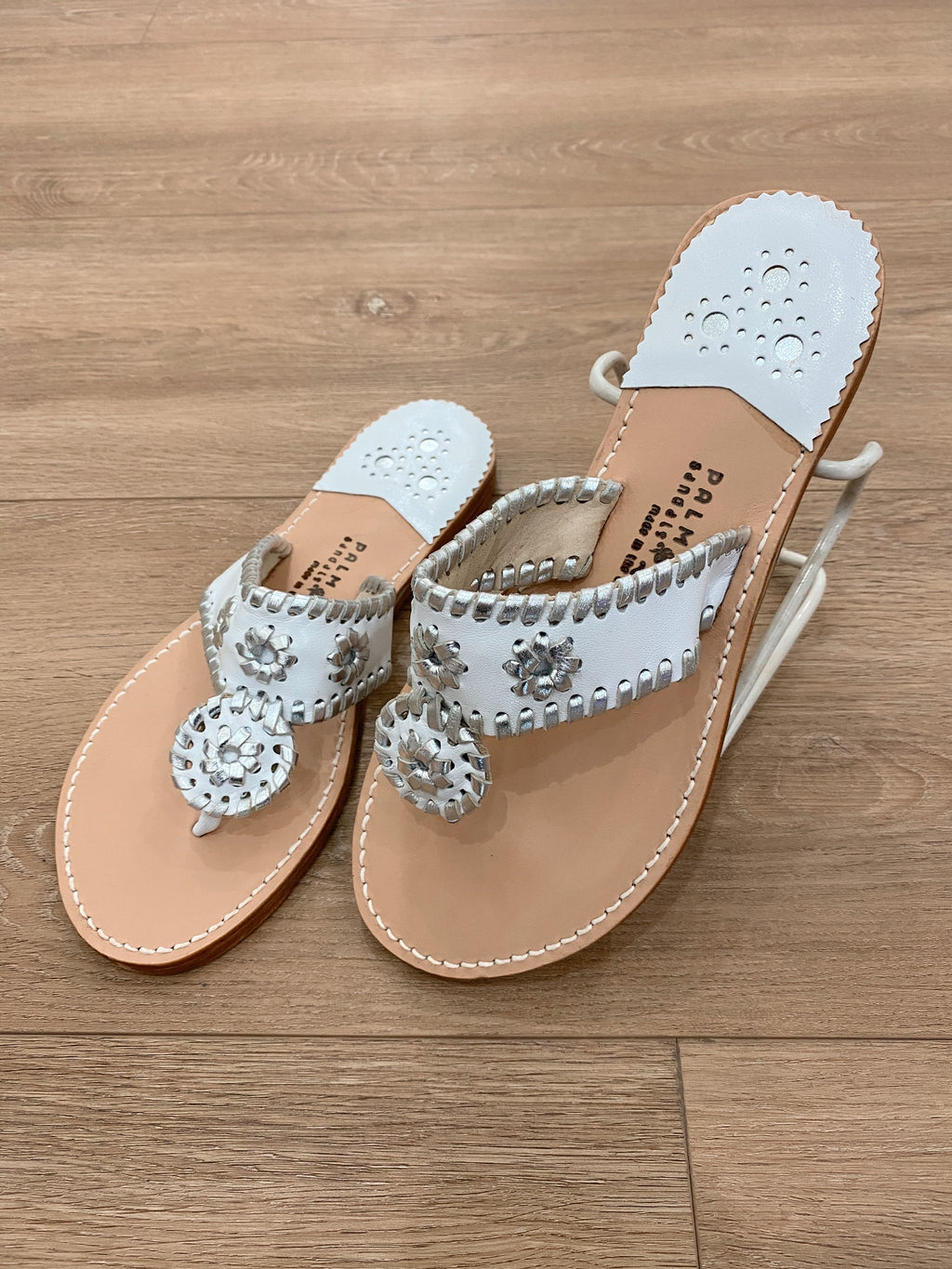 .Palm Beach White & Silver Sandals