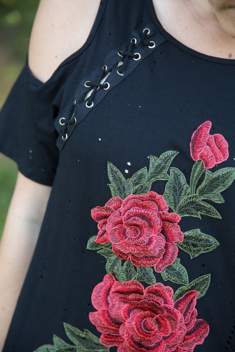 Lace Up Patch Dress