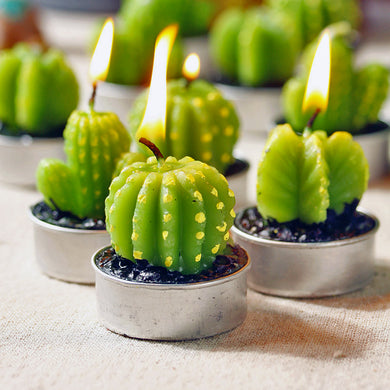 6x Set of Mini Cactus Candle Tea Lights