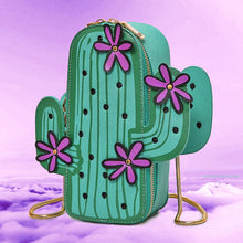 SALE - Embroidered Cactus Messenger Bag with Gold Chain and Purple Flower detail