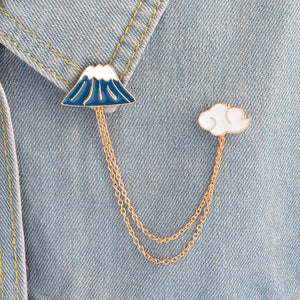 60% OFF - Mt & Clouds Tassel Collar Enamel Pin