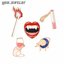 QIHE JEWELRY Sexy Retro Style Red Lips Wine Cigarette Matches Eyes New Summer Style Pins Brooches For Women Jewelry