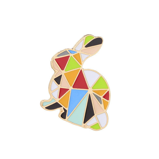 Creative Cartoon Origami Animal Brooches Floating Charms Multicolor Paper Cranes Rabbit Brooch Collar Pins For Women