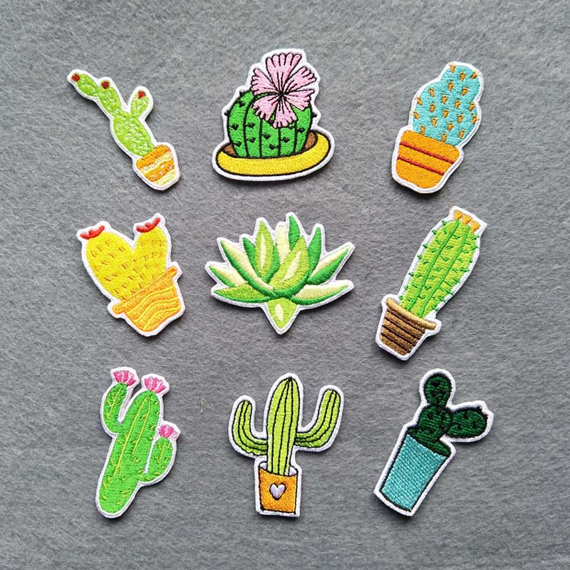 9x Set of Embroidered Iron-on Cactus patches
