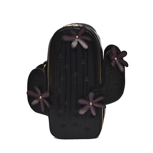 NEW COLOR BLACK Cactus Messenger Bag with Gold Chain and Flower Detail