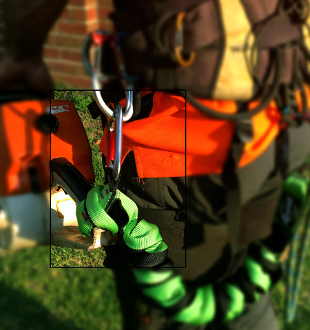 heavy duty lanyard on chainsaw and harness