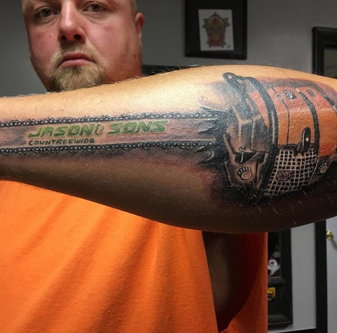 Countreewide tree service Chainsaw Forearm Tattoo